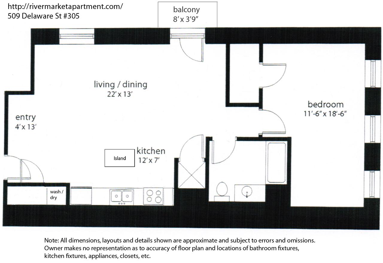 Floor plan 509 delaware 305 river market apartment for 509 plan